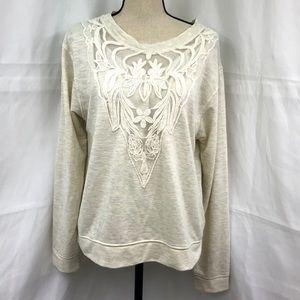 Knox Rose Lace Detail Lightweight Sweatshirt Cream